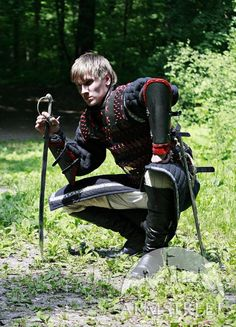 MEDIEVAL LAMELLAR LEATHER BLACKENED STEEL ARMOR SUIT