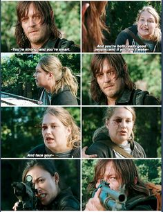 S6E14  Denise, advising Daryl & Rosita to open themselves up, then taking a shot meant for Daryl.