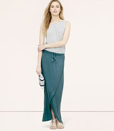 Drawstring Wrap Maxi Skirt