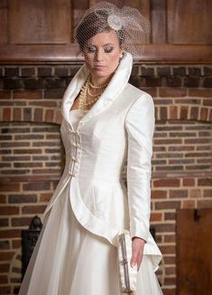 Qiana Bridal design and create beautiful wedding dresses and bridal gowns. Call our bridal boutique for more information Wedding Coat, Wedding Jacket, Wedding Dress Sleeves, Wedding Dresses Plus Size, Bridal Wedding Dresses, Designer Wedding Dresses, Vestido Charro, Bridal Makeup For Brunettes, Winter Gowns