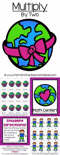 Quick and Easy to Make Multiplication Center Game Multiply By Two Concept for Earth Day ~ Add a little Social Studies and Science to your Math Lessons! #TPT $Paid