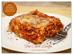 Four Cheese Lasagna (made with Swiss and Cottage Cheese) : sweetlittlebluebird.com