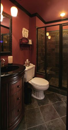 NEATEST BASEMENT BATHROOM IDEA TO DATE. Black toilet and urinal however!