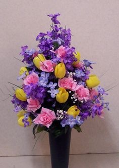 spring flower arrangements | Cemetery Vase Flowers from Monroe County Flowers in Michigan (MI ...