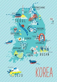 Illustrated map of Korea. Travel Maps, New Travel, Asia Travel, Girl Travel, Food Travel, Japan Travel, Travel Packing, Travel Ideas, Travel Photos