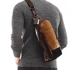Coach Mens bleecker leather colorblock convertible sling pack