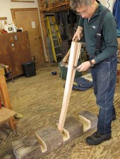 Drew Langsner using a Japanese riving brake. ~ Country Workshops Newsletter