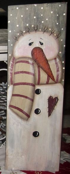 *~*PRIMITIVE*~* HP FOLK ART PRIM SNOWMEN *~* HEART *~* BOARD #NaivePrimitive