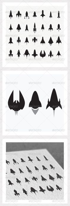 Rocket and Spaceship Silhouettes #GraphicRiver Rocket and Spaceship Silhouettes for your next project. Technical Information: CMYK 300dpi for print and web. 100% vector shapes. In the zip we have: EPS 10 file. PDF info file. Feel free to send photos of the silhouettes in use and please rate if you have a minute. Thank you. Created: 2May13 GraphicsFilesIncluded: VectorEPS Layered: No MinimumAdobeCSVersion: CS Tags: aviation #booster #craft #fly #flying #outerspace #rocket #rockets #set #ship…