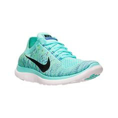 Nike Women's Free 4.0 Flyknit Running Shoes ($100) ❤ liked on Polyvore featuring shoes, athletic shoes, breathable running shoes, running shoes, green athletic shoes, nike footwear and breathable shoes