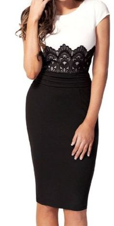 made2envy Embroidered Lace Bodycon Dress with Scoop Neck (M, Black/White)
