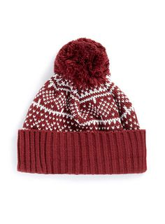 BURGUNDY PATTERNED BEANIE - Hats   - Accessories