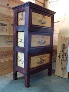 Chaleur Estate Three Drawer Wine Crate End Table
