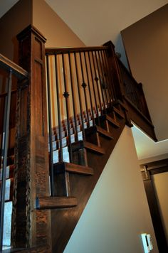 Dark wood stained Staircase Stained Staircase, Dark Wood Stain, Stairs, Home Decor, Ladders, Homemade Home Decor, Stairway, Staircases, Decoration Home
