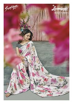 Off White & Pink Color Georgette Party Wear Sarees : Prishika Collection Laxmipati Sarees, Lehenga Saree, Bandhani Saree, Georgette Sarees, Fancy Sarees, Party Wear Sarees, Printed Sarees, Saree Collection, Pink Color