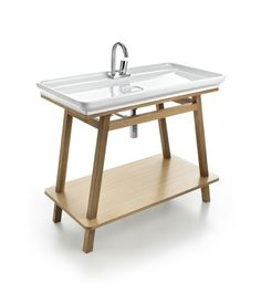 Naked and Trapezio, design Meneghello Paolelli Associati.   Lavabo e mobile bagno con telaio in legno rovere, rovere sbiancato e wengè /  Washbasin and bathroom furniture with frame in oak, washed oak and wengé. #bathroom #bagno #washbasin #furniture #Artceram
