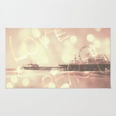 Pink Santa Monica Pier Love Peace Area & Throw Rug by Christine aka stine1 - $28.00