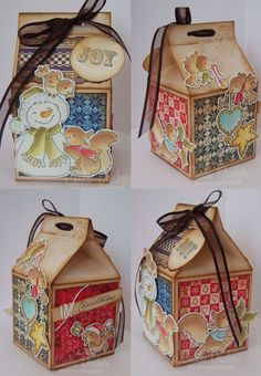 Stampin Up: milk carton die. I like how they have secured the top of the carton with ribbon.