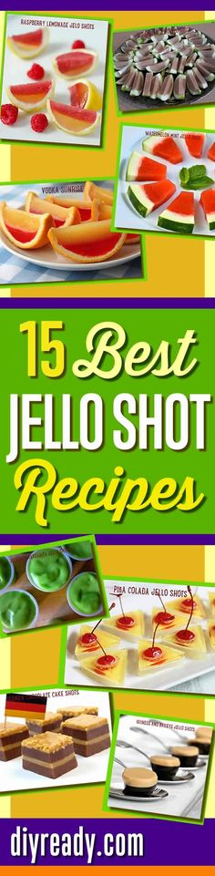 Best Jello Shot Recipes and Cool Drink Ideas for Cocktail Parties. How To Make Creative Jello Shots from Scratch! Watermelon, Pina Colada, Raspberry Lemonade, Vodka Sunrise, even German Chocolate Cake Jello Shots | Best Homemade Recipes at DIY Ready http: