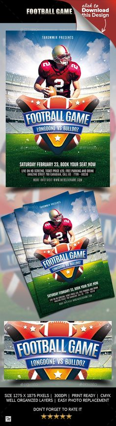 american, american football, ball, bowl, champion, championship, college, college football, competition, design, event, flyer, football, football helmet, game, goal, league, match, play, playoff, poster, sport, stadium, super, Superbowl Flyer, team, template, touchdown, tournament Football Game Flyer  Features  Easy editable text Organised layers and grouped Print size: 4×6 inch Bleed area: 0.25 inches 300 Dpi, CMYK PSD file Dimensions With guidelines Football Player image not included in…