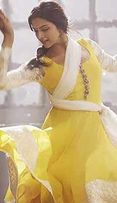 Indian Traditional Yellow Foux Georgette Anarkali Dresses, Dress