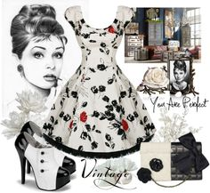 """""""VINTAGE - Audrey Hepburn"""" by fantasiegirl ❤ liked on Polyvore"""