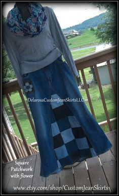 Square Patchwork Long Jean Skirt Custom Your Size choose your size and length size 0 1 2 4 6 8 10 12 14 16 18 20 22 24 26