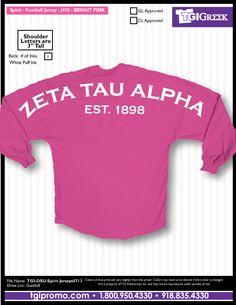 TGI Greek - Zeta Tau Alpha - Spirit Jersey Kappa Alpha Theta, Alpha Chi Omega, Phi Mu, Big Little Gifts, Spirit Jersey, Sorority Life, Go Greek, Greek Life, Shirts