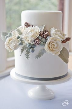 white winter wedding cake   {design by Erica O'Brien Cake Design}