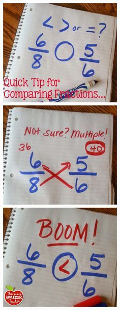 Love this genius tip for comparing fractions. – Novel Guide Love this genius tip for comparing fractions. Love this genius tip for comparing fractions. Math College, Math Fractions, Comparing Fractions, Equivalent Fractions, Math Math, Ordering Fractions, Multiplication Tricks, Dividing Fractions, Learning Fractions