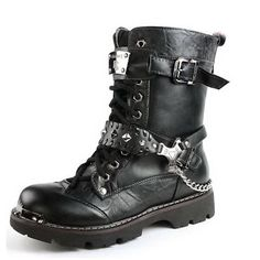 Black Studded Leather Biker Punk Goth Boots Straps Chains Accessories SKU-71117027