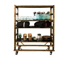 Textile Trolley with Blackened Zinc Shelves by The Old Cinema http://www.theoldcinema.co.uk/