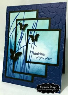 masculine layered Thinking of You card by Alyson Mayo Happy Birthday Cards, Funny Birthday, Birthday Wishes, Stamping Up Cards, Butterfly Cards, Card Sketches, Sympathy Cards, Folded Cards, Creative Cards