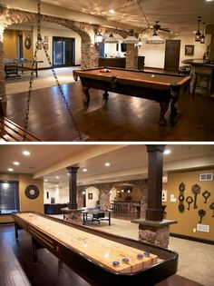 This stunning basement is equipped with hardwood floors, custom stone pillars, wet bar, temperature controlled wine cellar (1000 bottles), pool table, shuffle board and an awesome indoor movie theater that seats 12.