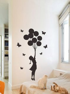 To find out about the Girl & Balloon Wall Sticker at SHEIN, part of our latest Wall Art ready to shop online today! Simple Wall Paintings, Creative Wall Painting, Creative Wall Decor, Wall Painting Decor, Diy Wall Art, Home Decor Wall Art, Diy Wall Decor, Bedroom Wall Designs, Wall Art Designs