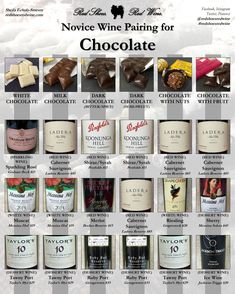 Chocolate and Wine Pairing Made Simple: I'm of the opinion that wine goes with everything. But chocolate in particular pairs really well with some wines, depending on type of chocolate. Wine And Cheese Party, Wine Tasting Party, Wine Parties, Wine Cheese, Chocolate Wine, Chocolate Party, Dove Chocolate, Sweet Champagne Brands, Wine Cellar Racks