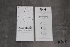Trouwkaart 21x10 cm zwart/wit.