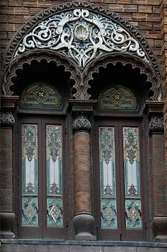 Medinah Temple Windows    Moorish Revival windows in the Medinah Temple building on East Ohio Street in Chicago, Illinois.