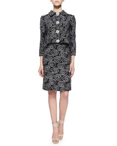 -5W7T Oscar de la Renta Rose Swirl Embroidered Tweed Jacket & Pencil Skirt