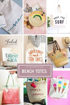 Simple ways to personalize a beach tote gift bag for weddings or your BFF. Diy Tote Bag, Beach Tote Bags, Bow Bag, Diy Handbag, Diy Craft Projects, Summer Beach, Make It Yourself, Blank Canvas, Inspiration