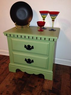 Vintage Night Stand- Yard Sale $4 find- Love the Bat Wing handles-