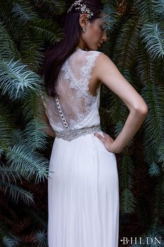 bhldn fall 2016 bridal sleeveless thick strap deep plunging v neck romantic grecian modified a  line wedding dress lace back sweep train (fantasia) mv