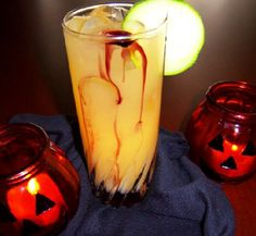 Bloody Halloween Punch Ingredients: * 1 quart fresh orange juice, not from concentrate * 1 quart canned, unsweetened pineapple juice * 1 quart ginger ale (see tips) * 1/4 cup cranberry juice concentrate (see tips) * 12 thinly sliced cucumber rounds for garnish