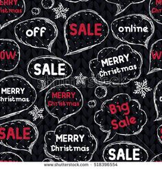 Black Friday.  Hand drawing speaking bubbles. Seamless pattern. Black background. Knitting style vector illustration.