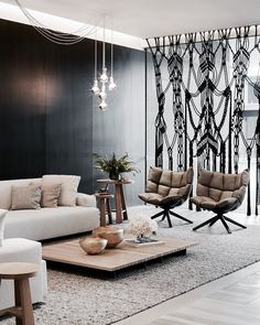 Interior design ideas for a luxury living room decor. On this living room you can see extraordinary furniture design pieces. Fabric Room Dividers, Sliding Room Dividers, Space Dividers, Wall Dividers, Modern Interior Design, Home Design, Design Ideas, Design Design, Design Trends