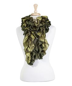 Look at this Olive Ruffle Scarf on #zulily today!