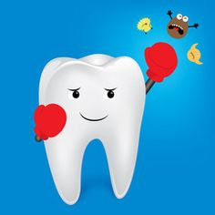 Tooth character boxing. Boxing for protect