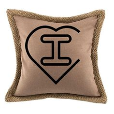 'I ' Valentine Heart Monogram Letter I Bed Home Decor Faux Linen Pillow Cover Brown -- Find out more about the great product at the image link. (This is an affiliate link and I receive a commission for the sales)
