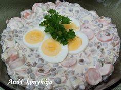 Virslis - majonézes lencsesaláta - Andi konyhája - Sütemény és ételreceptek képekkel Food And Drink, Eggs, Lunch, Cooking, Breakfast, Desserts, Recipes, Nails, Diet