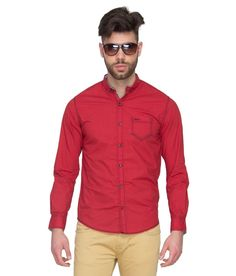 Mufti Red Casual Shirt - http://brandedstore.in/product/mufti-red-casual-shirt/